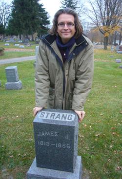 John Hamer at the grave of Mormon prophet, James J. Strang