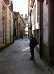 You wouldn't want to meet this guy in a dark alley! Jordan strolling the narrow streets of the old town in Santiago de Compostela