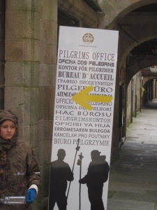 The end of the road -- about to enter the Pilgrim's Office adjacent to the Cathedral in Santiago de Compostela