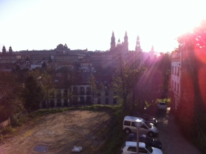 "Morning view of the Cathedral from our pilgrim's hostel, ""Roots 'n Boots""."