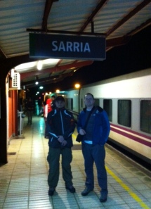 Jordan and Peter disembarking from the night train in Sarria at 6:50 am.