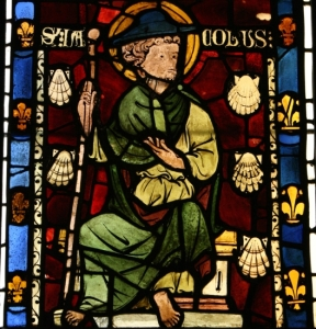Detail of stained glass depicting St. James the Greater with his pilgrim hat, staff, and scallop shells. From Rouen, Normandy, c.1270, source: http://www.sacred-destinations.com/france/paris-cluny-museum-photos/slides/xti_9012c