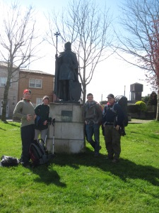 A templar pilgrim stood as sentinel along The Way as we entered Santiago de Compostela