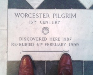 The grave of the Worcester Pilgrim and the feet that will follow (sort of) his journey to Santiago.