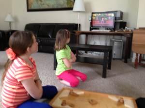 Girls watching opening prayer