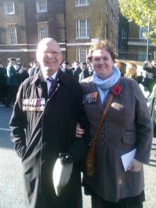 """Rebecca and her father John in London. They are wearing the medals of John """"Jack"""" McLaverty (Royal Navy) and Ralph Stanley Smith (King's Own Scottish Borderers)."""