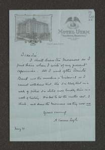 Hotel Utah stationary. Doyle trusted, apparently, his 1880s impressions of the Mormon pioneers.