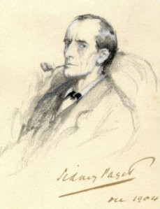 Holmes, as artist Sidney Paget conceived of him in the Strand Magazine. Movie star Basil Rathbone was nearly a dead ringer.