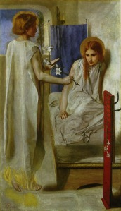 "Dante Gabriel Rossetti, Ecce Ancilla Domini! (""Behold the handmaiden of the Lord"") 1849-50 (source: http://tinyurl.com/kbowuzl)"