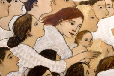 "Detail from ""Nativity"" by Brian Kershisnik, 2006 (source: http://tinyurl.com/m6oafwf) -- The beauty and grace of Kershisnik's angels constantly inspire me."