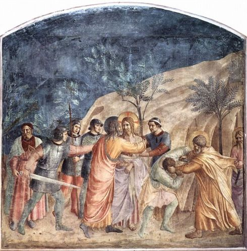 Fra Angelico, The Capture of Christ, c. 1440 (fresco panel in the Dominican Monastery of St. Mark in Florence depicting Judas' kiss and Peter striking off Malchus' ear) (source: http://tinyurl.com/kjr9dkm)