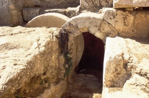 The Herodian family tomb west of the Old City provides an idea of what Joseph of Arimathea's tomb would have looked like.