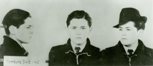"Helmuth Hübener's ""mug shot,"" arrested February 5, 1942 (source: http://tinyurl.com/m4zgx7n)"
