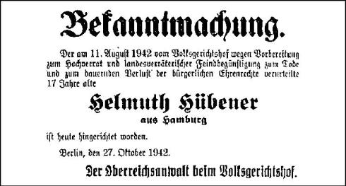 Announcement of Helmuth Hübener's Execution, October 27, 1942 (source: http://tinyurl.com/pxu3u3v)*