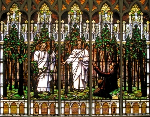 Stained Glass Depiction of Joseph Smith's First Vision, Salt Lake Liberty Stake Second Ward Building (source: http://tinyurl.com/pqdsua2)