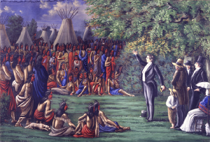 "C. C. A. Christensen painting of Joseph Smith preaching. ""Did he smile when he said that?"""