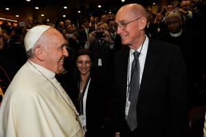 Pope Francis greets President Eyring at the Vatican.