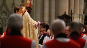 Archbishop of York John Sentamu ordains Right Reverend Libby Lane to the office of Bishop of Stockport, Jan. 26, 2015 (source: http://tinyurl.com/lvo4mam)