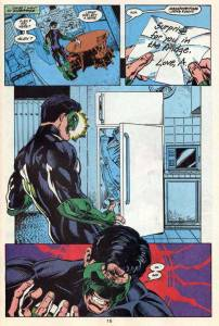 The fridge in question.  Also, Kyle Rayner's costume is the 2nd lamest Green Lantern costume.