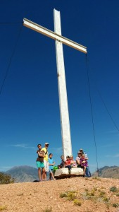 A few members of the Mormon Society of St. James at the Dominguez-Escalante Cross in Spanish Fork Canyon, 2014