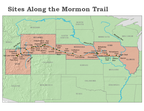 The Mormon Trail (source: http://tinyurl.com/q5lkkkh)