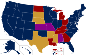 Map of states where SSM was legal prior to Obergefell