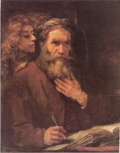 Rembrandt's Matthew and the Angel. (Image: Wikipedia) Matthew the Apostle and Matthew the Evangelist (writer of the Gospel) are not the same person.