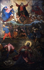 Stoning of Stephen from the altarpiece of San Georgio Maggiore in Venice by Tintoretto. (Image: Wikipedia)