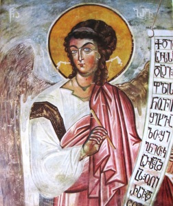 Gabriel in a 14th century fresco. The (Image: Wikipedia)
