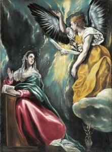 El Greco: Mary meets the angel. Note the dove. (Image: Wikipedia)