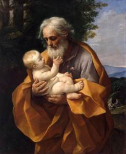 Guido Reni's St. Joseph and the Infant Jesus. He's old. Joseph and Mary had other children who eventually became important in the post-resurrection movement. It's a sensitive issue among some Christians as to whether Mary remained a virgin and the children were Joseph's from a previous marriage or something.  (Image: Wikipedia)