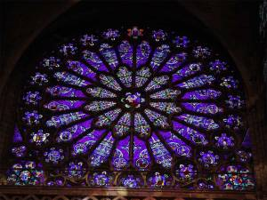 Stained glass and St. Denis. Genealogy of Jesus.