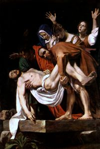 Caravaggio's Entombment of Christ. That's Mary of Clopas in the back with here hands up. Who was she?