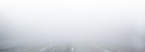 Salt Lake area road during a winter inversion.