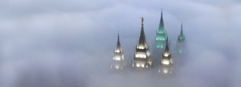 Salt Lake City temple during a winter inversion.