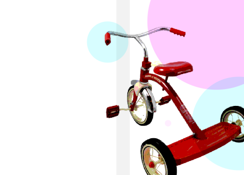 Book cover concept for THIRD WHEEL, featuring a red tricycle.