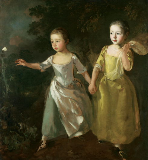A painting by Thomas Gainsborough, circa 1756, features his two daughters outside, chasing a single butterfly.