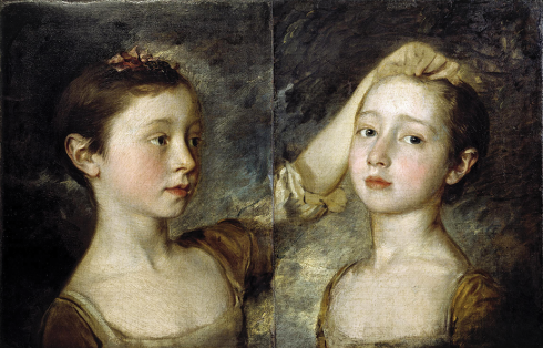 A painting from the 1700s showing two sisters standing close to each other. The younger sister is touching the older child's hair. The older child is looking at the viewer.