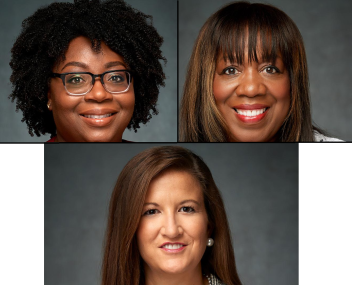 Photos of three new RS and YW board members.