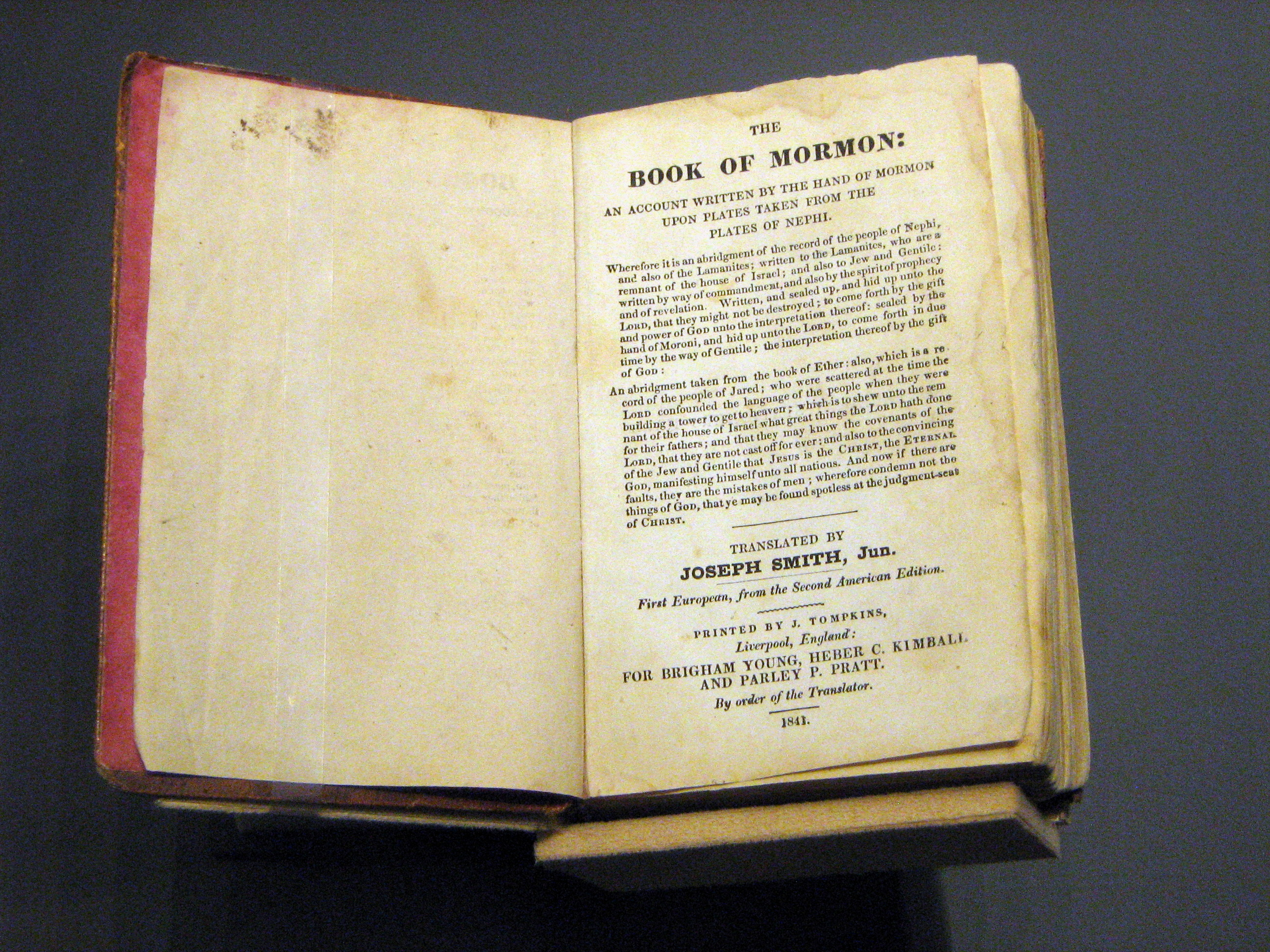 1841_Book_of_Mormon_open_to_title_page